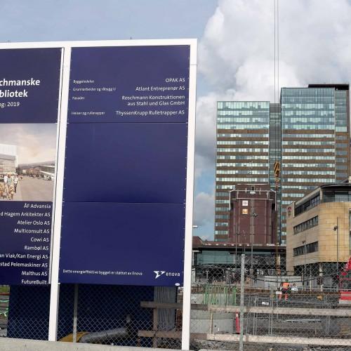 Oslo kommun, Deichmanns,  skylt på byggnadsplats