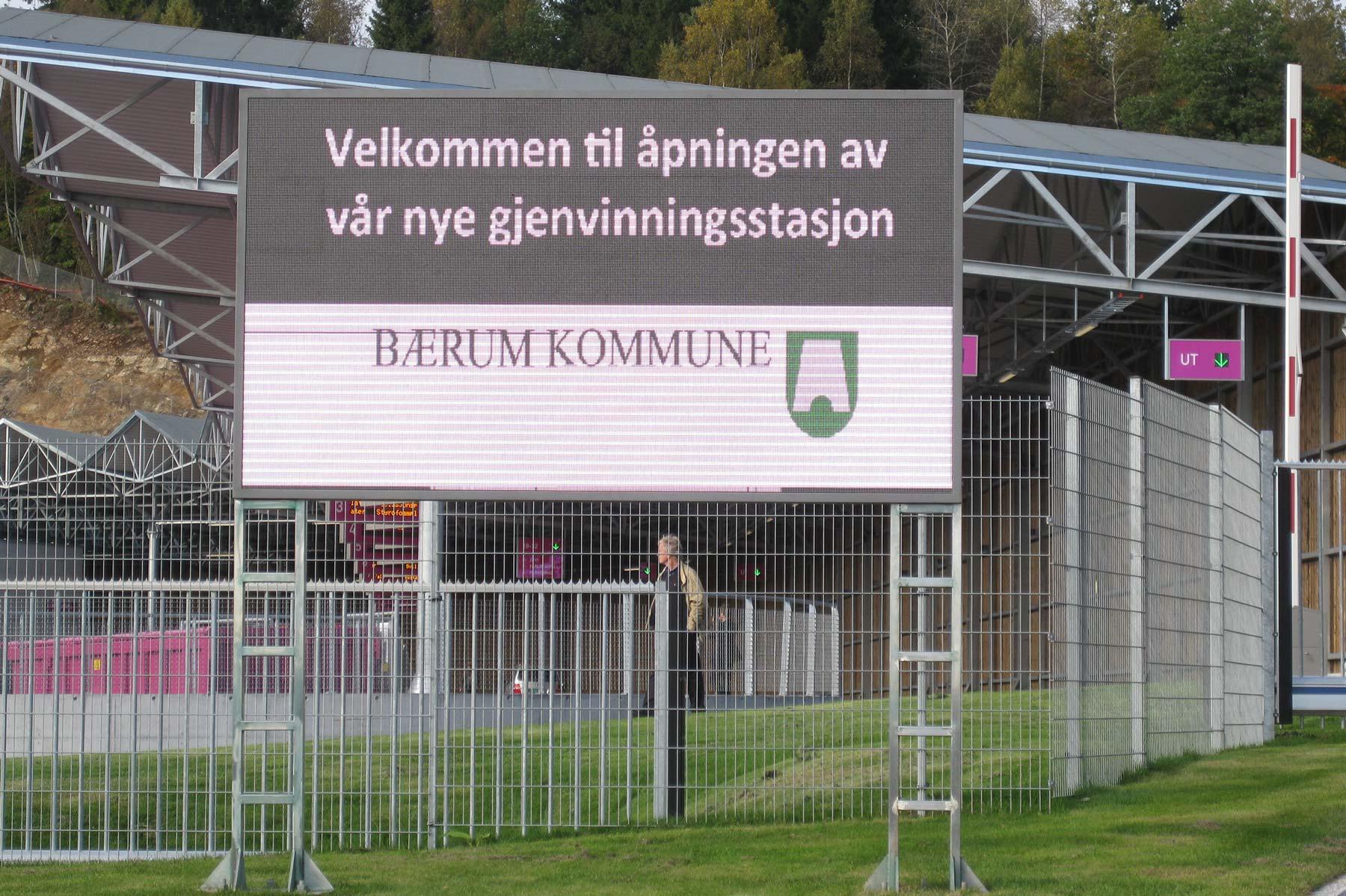 Bærum kommune, digitalt skilt Isi Gjennbrukstasjon