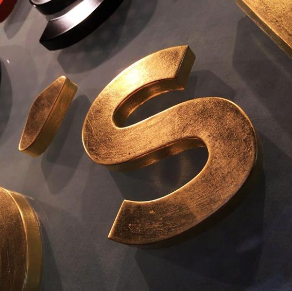 guldblad, obelyst skylt , specialdesign